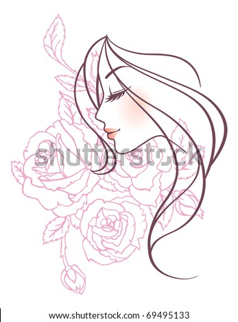 Elegance women with roses - stock vector