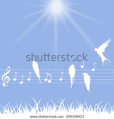 Elegant abstract illustration of music notes with birds - stock vector