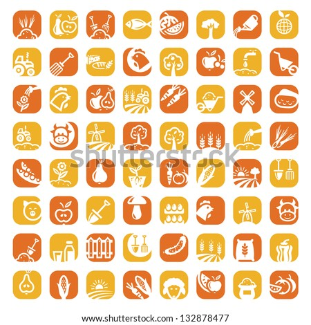 Elegant Agriculture Icons Set Created For Mobile, Web And Applications. - stock vector