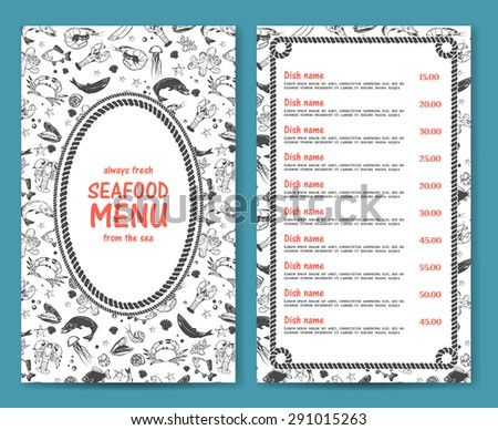 Elegant and simple seafood restaurant or cafe menu list template in marine style with rope borders and decorative elements vector - stock vector