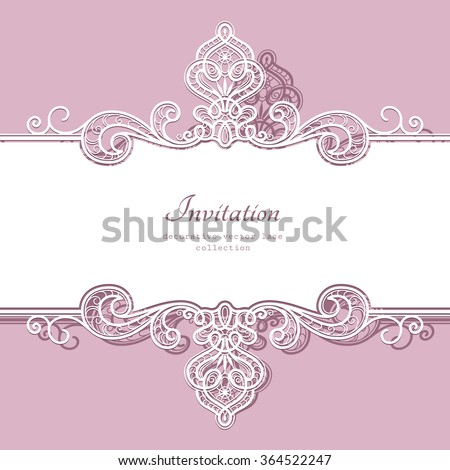 Elegant background with border lace ornament, divider, header, decorative paper lace frame, vector greeting card or wedding invitation template, eps10 - stock vector