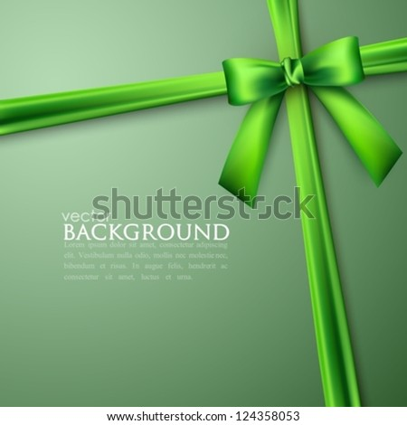 elegant background with green bow - stock vector