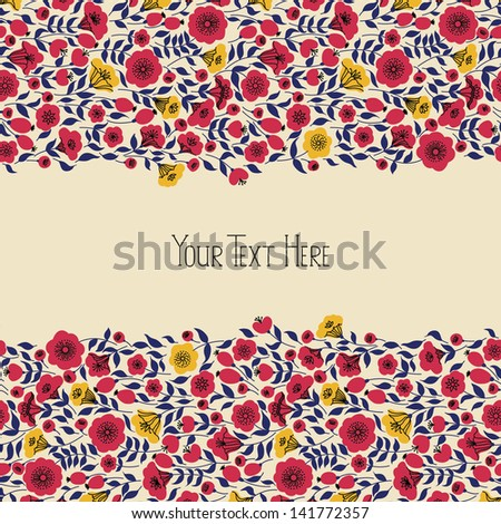 Elegant banner with yellow and pink flowers and place for your text, vector illustration - stock vector