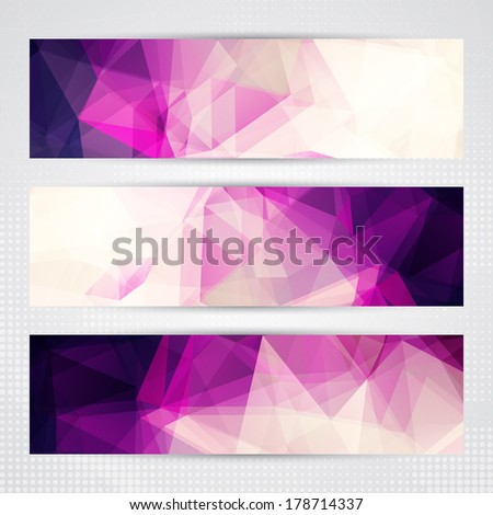 Elegant banners with light and dark pink transparent polygonal shapes - stock vector