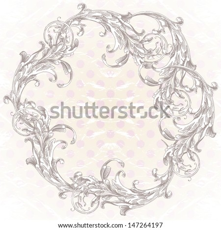 Elegant baroque ornate curves engraving frame. Vector background -- round frame and polka dots pattern. - stock vector