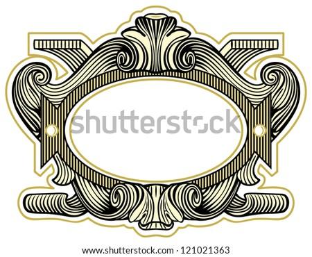Elegant baroque ornate. Curves engraving frames - stock vector