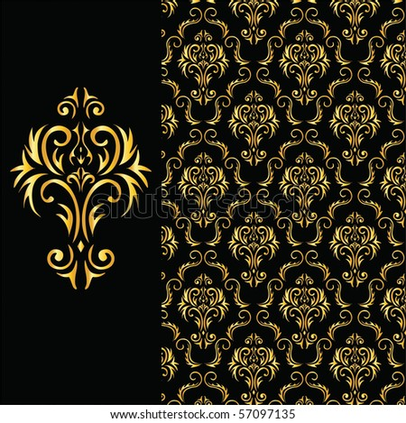 elegant black and gold background from a floral ornament - stock vector