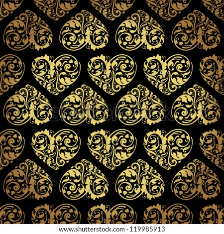 Elegant black golden seamless pattern - stock vector