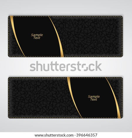 Elegant black leather horizontal banner with two gold stripes. Vector - stock vector