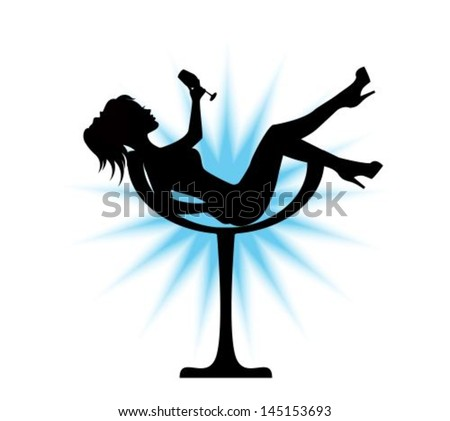 elegant black silhouette sits in a glass - stock vector