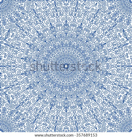 Elegant Blue Flower Seamless Pattern. Vector lines design. Decorative Lace Doily background. Indigo round ornaments. Vector mandala design elements. Floral motif, boho style with indigo flowers. - stock vector