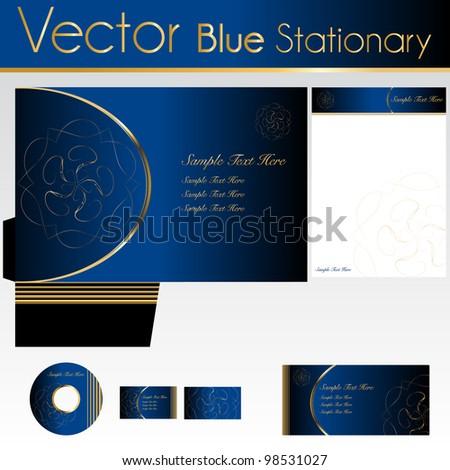 Elegant Blue Stationary - stock vector