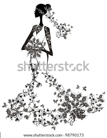 Elegant bride - stock vector