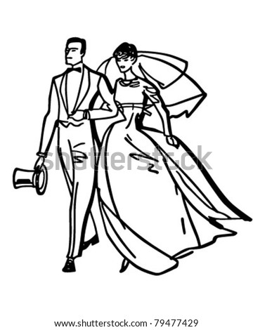 Elegant Bride And Groom - Retro Clipart Illustration - stock vector