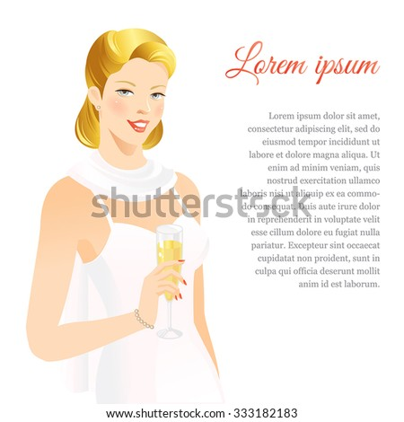 Elegant bride with glass of champagne - stock vector