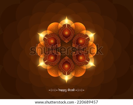 Elegant brown color happy Diwali background design. Vector illustration - stock vector