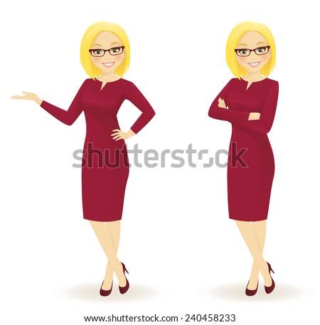 Elegant businesswoman in different poses - stock vector