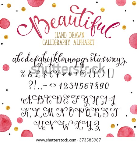 Elegant calligraphy letters with florishes. Handwritten alphabet with watercolor spots on background. Uppercase, lowercase letters, numbers and symbols. Hand drawn modern script.  - stock vector