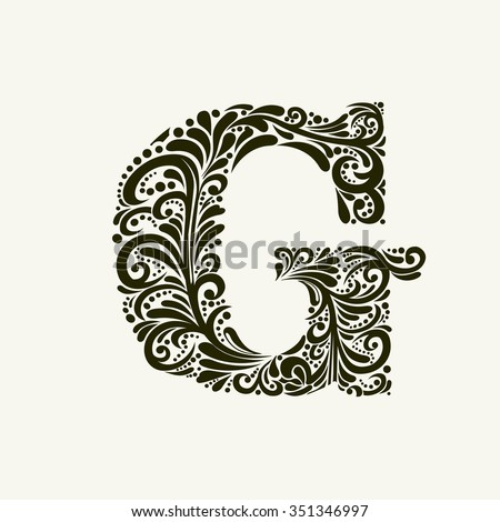 Elegant capital letter G in the style of the Baroque. To use monograms, logos, emblems and initials. - stock vector