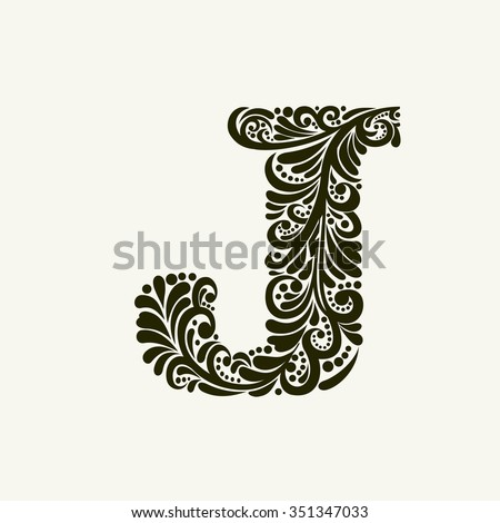 Elegant capital letter J in the style of the Baroque. To use monograms, logos, emblems and initials. - stock vector