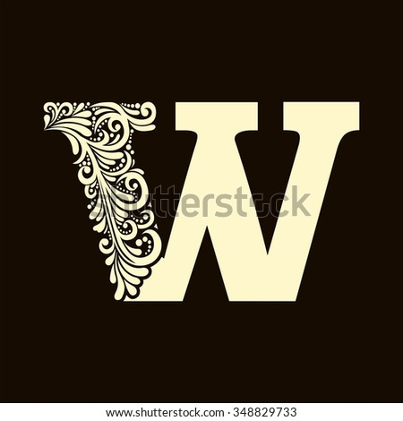 Elegant capital letter W  in the style of the Baroque. To use monograms, logos, emblems and initials. - stock vector