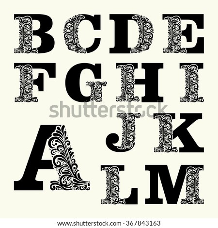 Elegant capital letters set 1 in the style of the Baroque. To use monograms, logos, emblems and initials. - stock vector