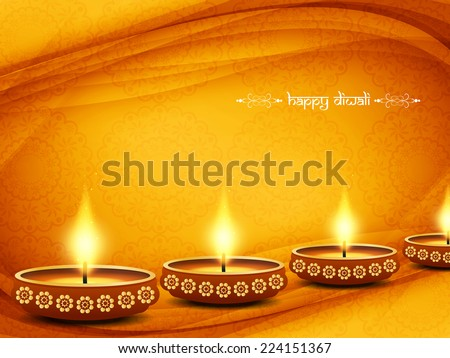 Elegant card design of traditional Indian festival Diwali with lamps. vector illustration - stock vector