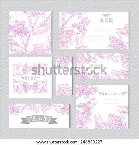 Elegant cards with decorative lily flowers, design elements. Can be used for wedding, baby shower, mothers day, valentines day, birthday cards, invitations, greetings. Vintage decorative flowers. - stock vector
