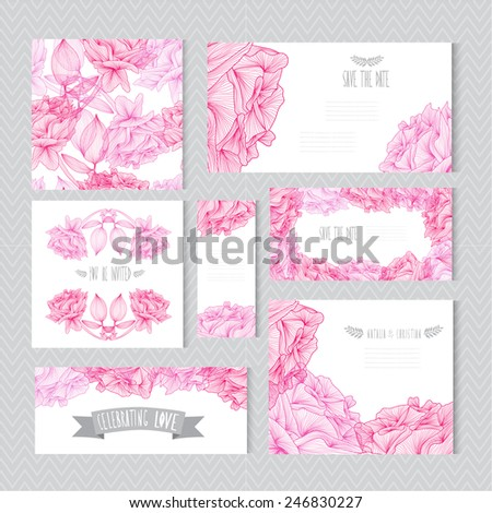 Elegant cards with decorative rose flowers, design elements. Can be used for wedding, baby shower, mothers day, valentines day, birthday cards, invitations, greetings. Vintage decorative flowers. - stock vector