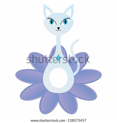 Elegant cat and flower - stock vector