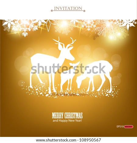 Elegant Christmas background with deers. Vector Illustration with place for text. - stock vector