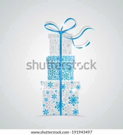 Elegant Christmas background with gift boxes made from snowflakes - stock vector