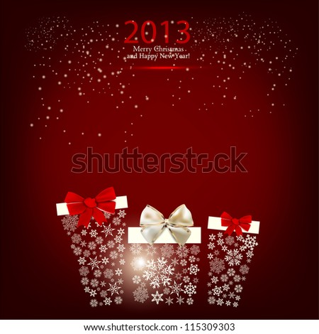 Elegant  Christmas background with gift boxes made from snowflakes. Vector  illustration - stock vector