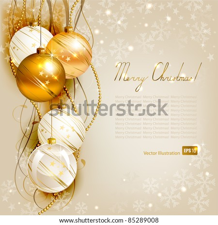 elegant  Christmas background with gold and white evening balls - stock vector