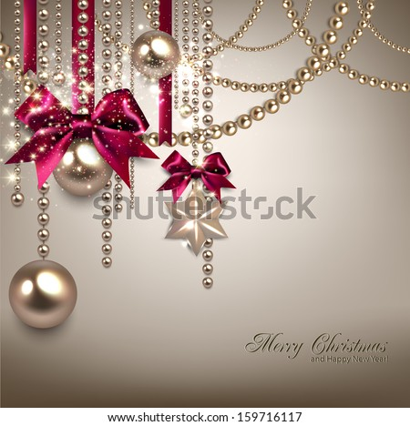 Elegant Christmas background with red ribbons and golden garland. Vector illustration - stock vector