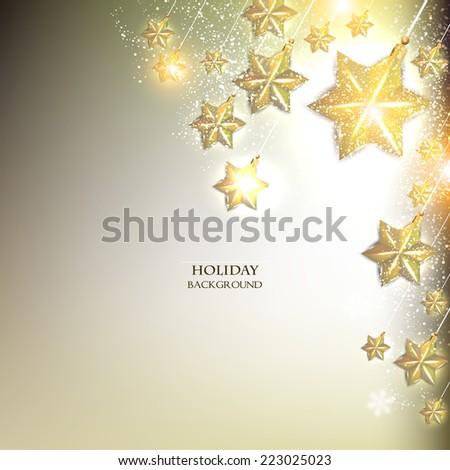 Elegant Christmas background with stars garland. Vector illustration - stock vector