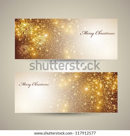 Elegant Christmas banners - stock vector