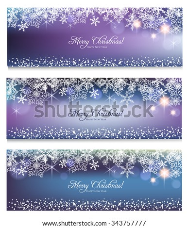 Elegant Christmas banners with snowflake background - stock vector