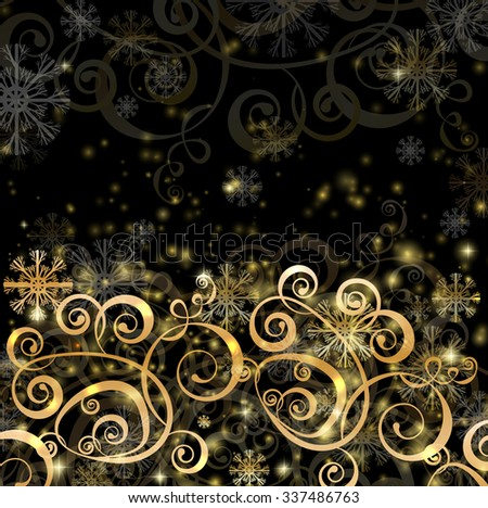 Elegant christmas black background with golden decoration, snowflakes and lights - stock vector