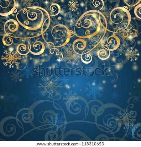 elegant christmas blue background - stock vector