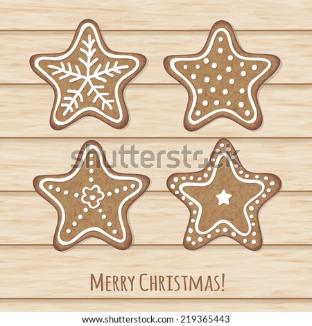 Elegant christmas card with decorative holiday cookies - stock vector