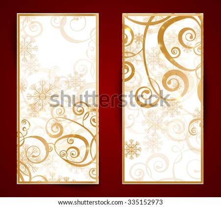 Elegant christmas gold banner with snowflakes and lights  - stock vector