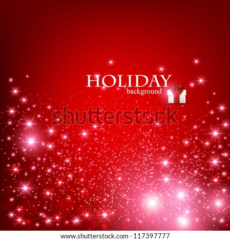Elegant Christmas Red background with snowflakes and place for text. Vector Illustration. - stock vector