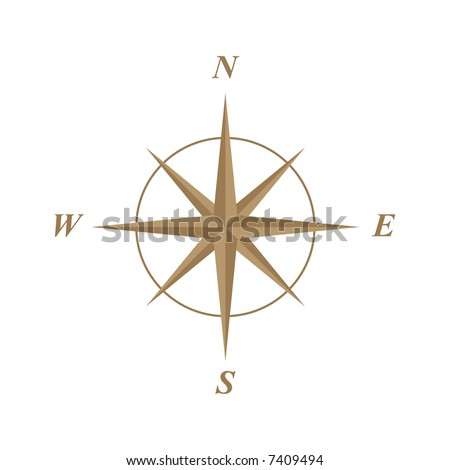 elegant classic compass rose illustration - stock vector