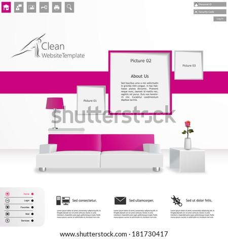 Elegant Clean Minimal Style Website Template Vector Design - stock vector