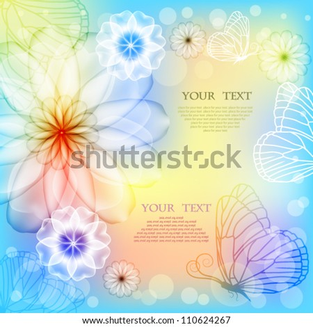 Elegant colorful background with flowers and butterflies - stock vector
