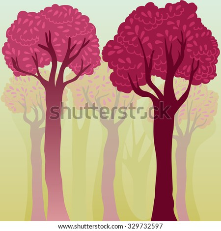 elegant colorful background with trees - stock vector
