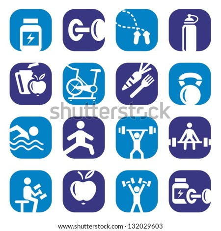 Elegant Colorful Bodybuilding Icons Set Created For Mobile, Web And Applications. - stock vector