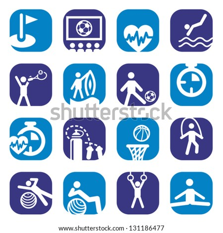 Elegant Colorful Fitness Icons Set Created For Mobile, Web And Applications. - stock vector