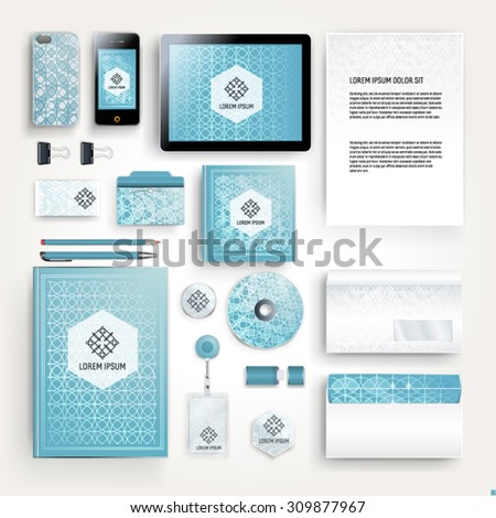 Elegant corporate identity template design with geometry pattern for your company. Cover layout.  Business stationery. - stock vector